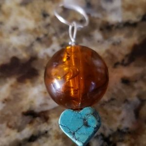 Jewelry - Vintage Dominican Amber & turquoise pendant